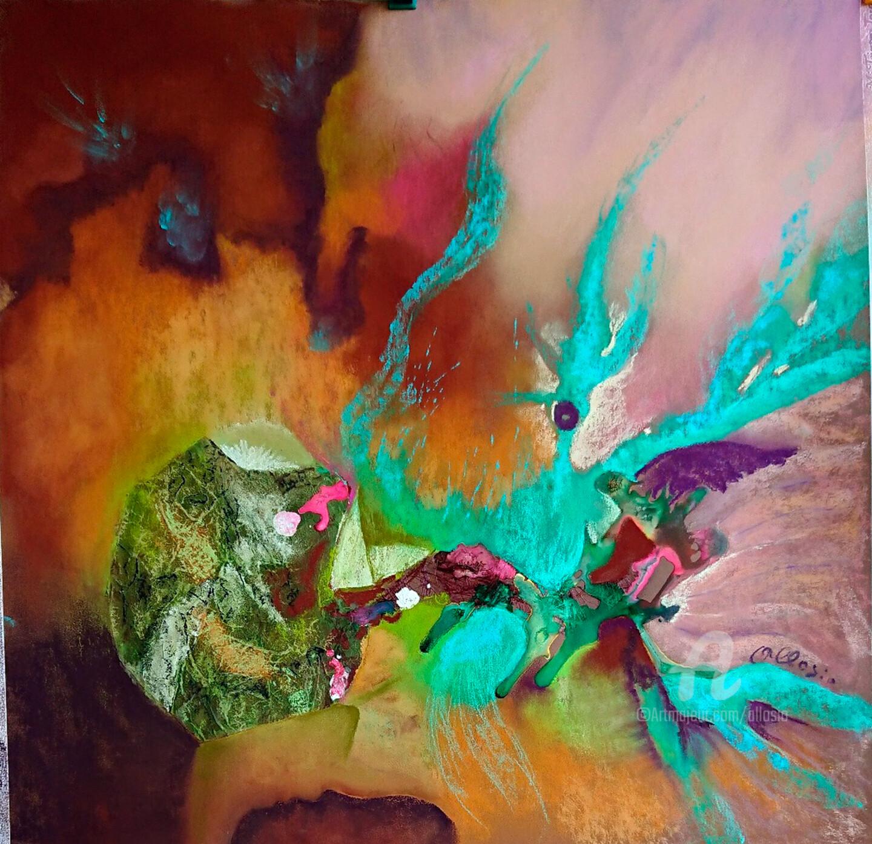 Claudette Allosio - fantaisie turquoise 50x50.jpg