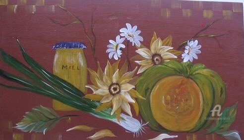 Claudette Allosio - panneau decoratif bois peint miel...