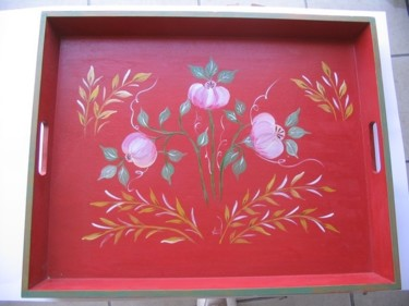 gd plateau rouge fleurs stylisees