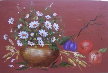 panneau decoratif bois peint fleurs, pommes