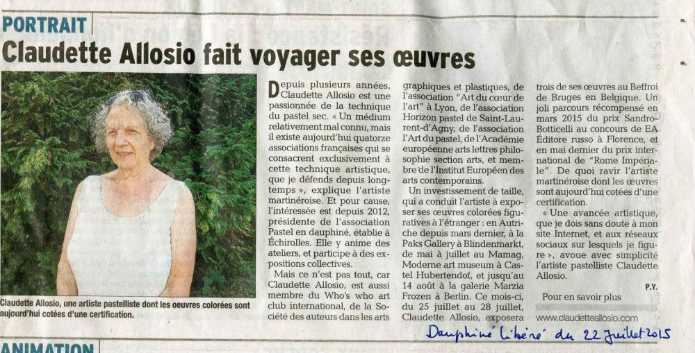 Article dans le Dauphiné Libéré du 22 juillet 2015