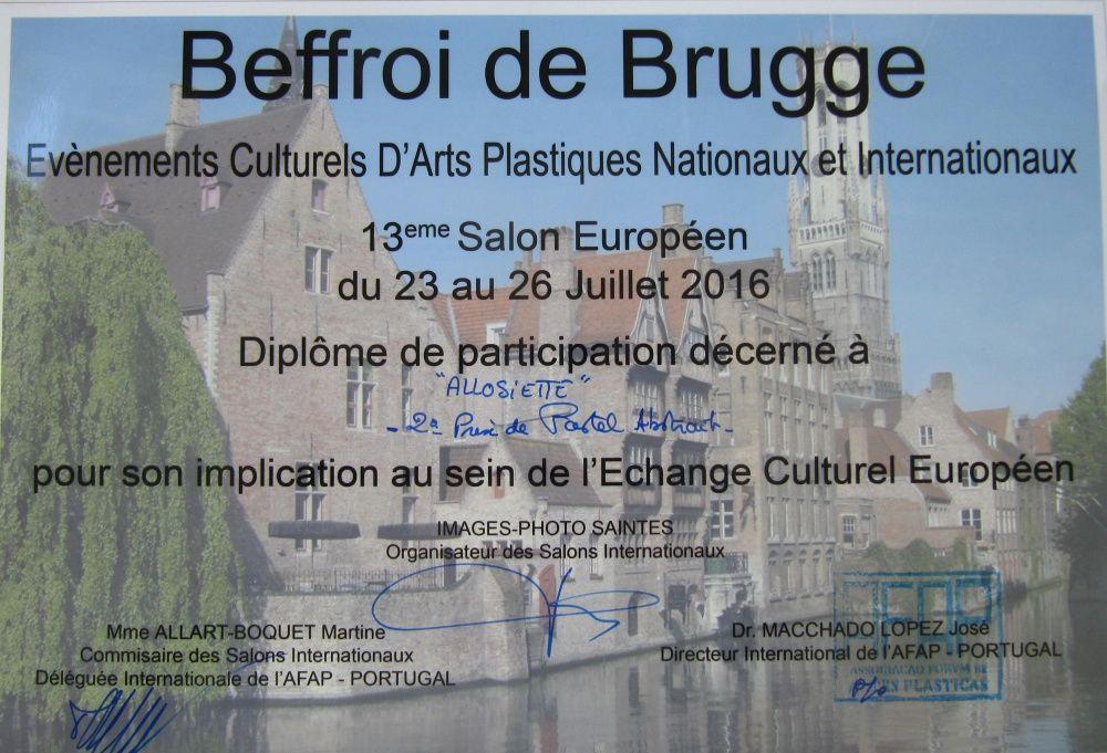 2° prix pastel abstrait à l'Exposition internationale au Beffroi de Brugge (Belgique)