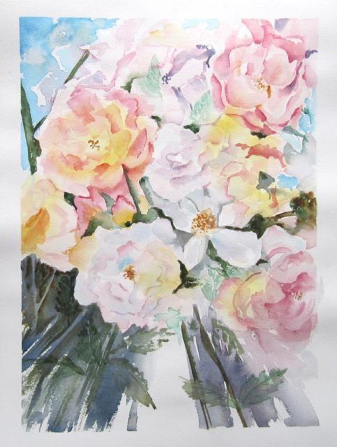 Claudette Allosio - roses vanille-framboise