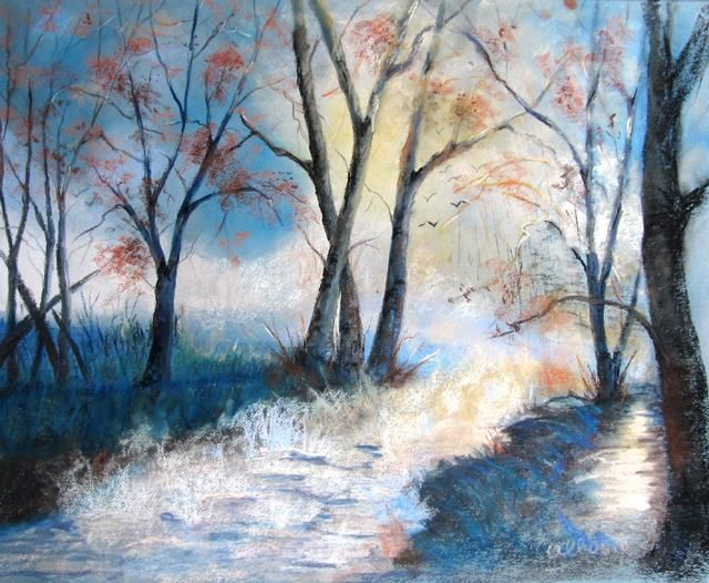 Claudette Allosio - brume sur le ruisseau